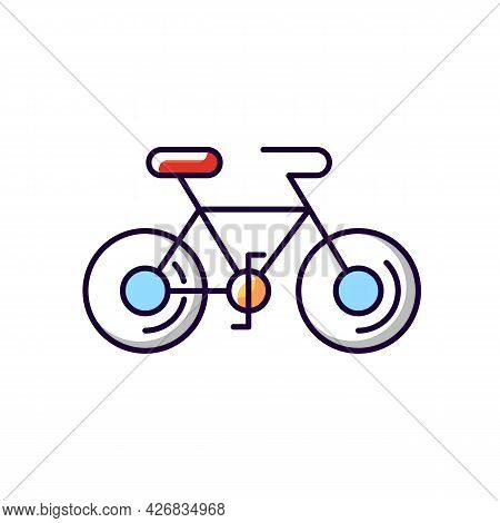 Bicycle Red White Blue Rgb Color Icon. Isolated Vector Illustration. Taiwan Cycling Travel. Riding R