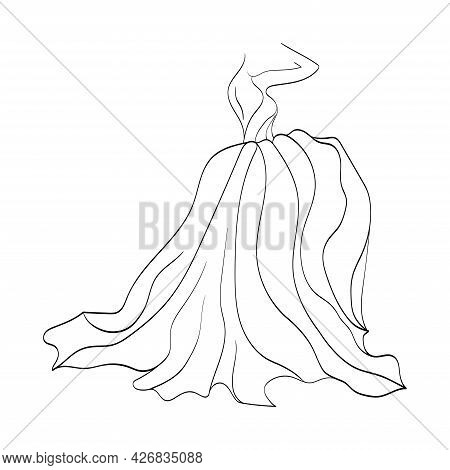 Logo Dresses For An Individual Boutique, A Beautiful Bride. Linear Beautiful Female Figure In A Magn
