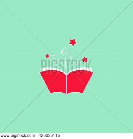 Open Book With Orange Book Cover And White Stars Flying Out. Isolated On Turquoise Background. Flat