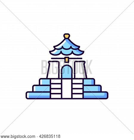 Chiang Kai Shek Memorial Hall Blue And White Rgb Color Icon. Isolated Vector Illustration. Landmark