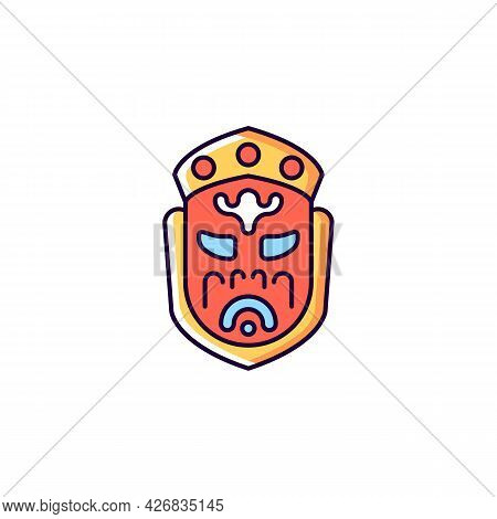 Ghost Mask Museum Red Rgb Color Icon. Isolated Vector Illustration. Taipei Attractions. Depict Disfi