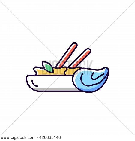 Oyster Omelette Rgb Color Icon. Isolated Vector Illustration. Taiwanese Night Market. Asian Cuisine