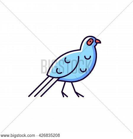 Bird Blue Rgb Color Icons Set. Isolated Vector Illustrations. Mikado Pheasant. Aborigines Head Decor