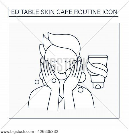 Washing Line Icon, Man Doing Beauty Procedure. Facial Soap For Cleaning Skin. Skin Care Routine Conc