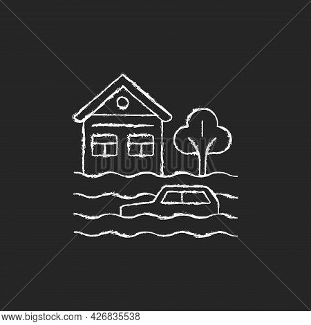 Floods Chalk White Icon On Dark Background. Water-related Disaster. Negative Impacts On Environment.