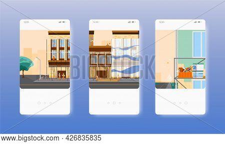 House Building, Repair, Renovation Services. Mobile App Screens, Vector Website Banner Template. Ui,