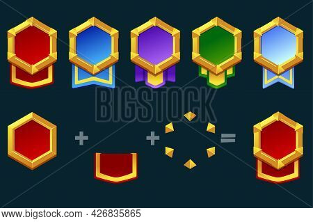 Constructor Award Badge For Game Resources, Blank Medallion With Ribbon For Ui.