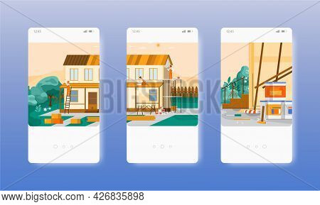 Home Repair Services. House, Roof Renovation. Mobile App Screens, Vector Website Banner Template. Ui