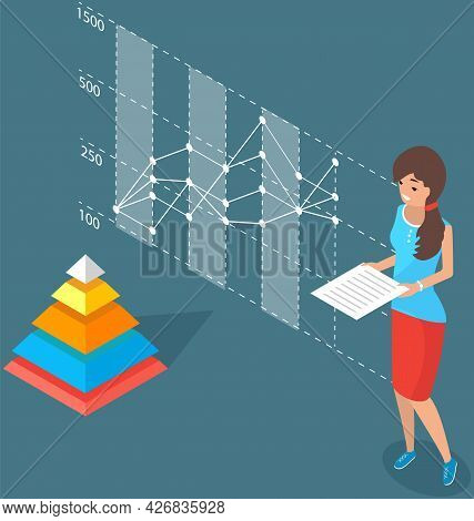 Woman With Statistical Business Report In Hands Analysing Information In Visualized Form. Female Cha