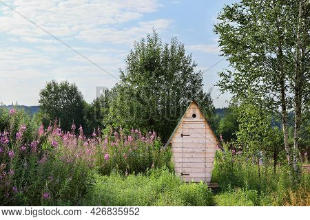 Rural Outdoors Toilet In Nature On Sunny Day With Copy Space