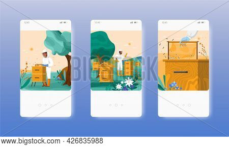 Honey Harvest. Apiary Farm. Beekeeper. Mobile App Screens, Vector Website Banner Template. Ui, Web S