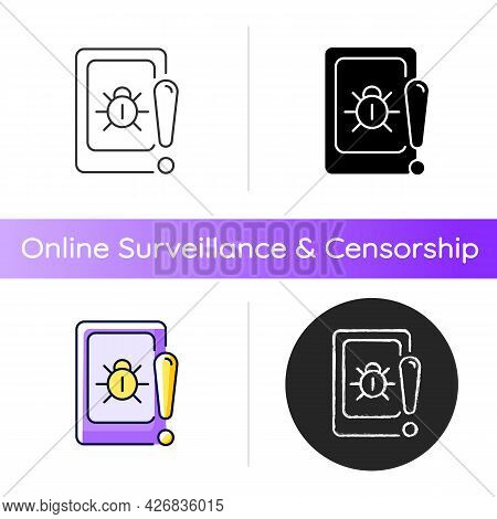 Cell Phone Bugging Icon. Tracking User Mobile Device Secretly. Smartphone Surveillance. Recording Co
