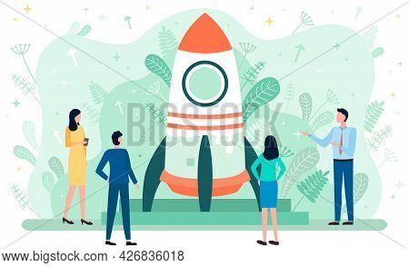 Teamwork And Startup Concept. Businesspeople Launching Business Project Startup, Business Strategy S