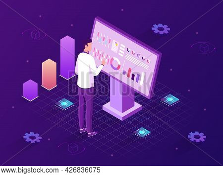 Isometric Digital Monitor. A Man Stands In Front Of A Monitor And Studies Statistical Data. Interact