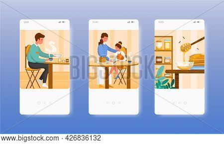 People Eating Dishes With Honey For Breakfast. Mobile App Screens, Vector Website Banner Template. U