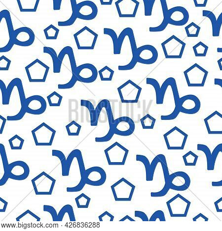 Seamless Pattern Of Blue Silhouettes Of The Zodiac Sign Capricorn And Pentagons Of Different Sizes O