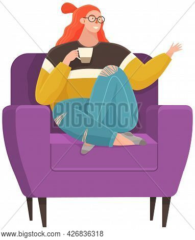 Coffee Break Vector Illustration. Relaxed Woman Sitting In Armchair With Cup Of Hot Drink. For Homel