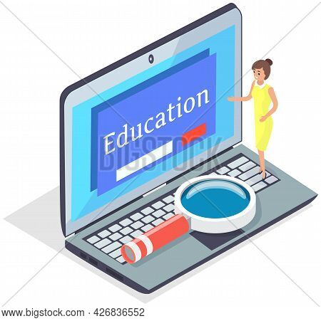 Digital Reading, E-classroom Textbook, Modern Education, E-learning, Online Training And Course Conc