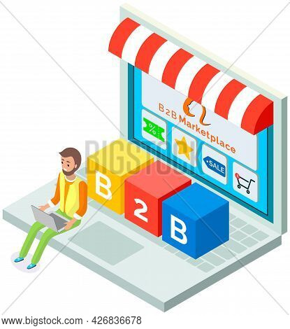Laptop Screen With Online Store, Discount, B2b Marketplace. Man Working At Computer, Sale Of Goods A