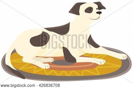 Cute Spotted Dog Lying On Rug. Thoroughbred Or Yard Puppy Isolated On White Background. Puppy With B