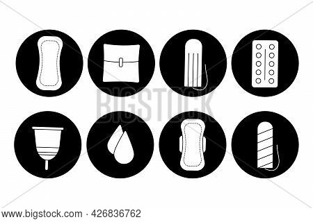 Feminine Hygiene Icons Set. Womens Pads And Tampons. Critical Days, Menstruation Concept. A Collecti