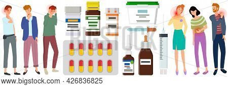 Sad People Suffering From Pain Stand Next To Medicines, Tablets, Ointments For Treatment Of Diseases