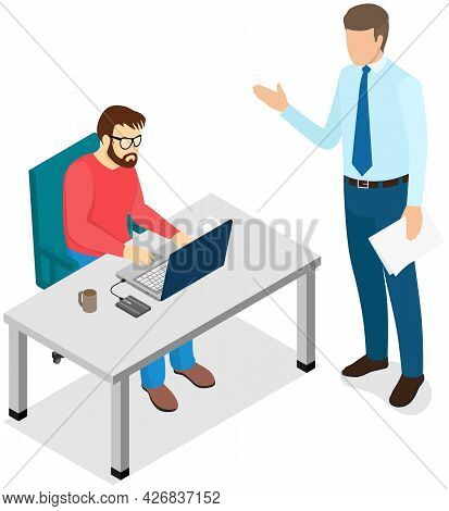Man Sitting And Typing On Computer. Boss Standing Near Employee And Controlling Process Of Working.