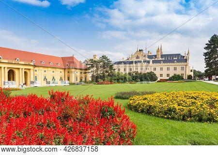 Lednice, Czech Republic - September 17, 2020: Red And Ellow Flowers In The Garden Of Castle Lednice,