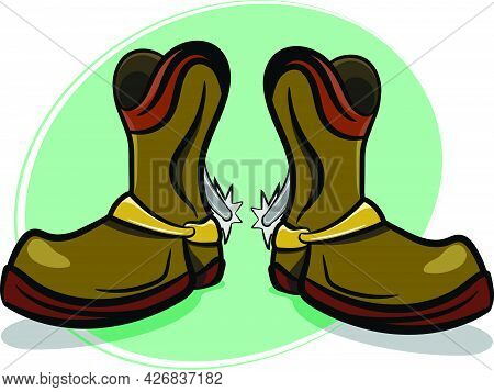 Leather Cowboy Boots With Spurs. Wild Western Texas Country Graphic Elements. Dynamic Neon Color Bac