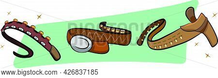 A Set Of 3 Leather Cowboy Belts With Bullet Holders. Belt Buckle. Dynamic Neon Color Background. Wil