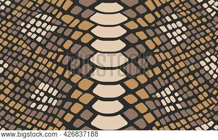 Trendy Snake Skin Vector Seamless Pattern. Hand Drawn Wild Animal Reptile Skin, Natural Snake Repeat