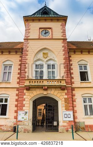 Lednice, Czech Republic - September 17, 2020: Tower Of The Town Hall Building Of Lednice, Czech Repu