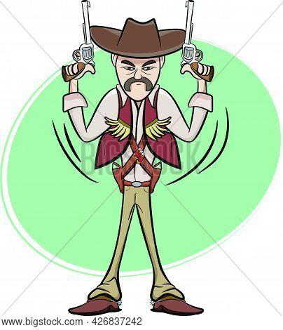 A Set Of 3 Badass Cowboys Holding Guns. Wild West Texas Country Graphic Elements. Cowboy Vector Elem