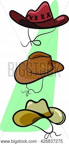A Set Of 3 Popular Stylish Cowboy Hats Worn By Cowboys In The Wild West Texas. Country Style Fashion