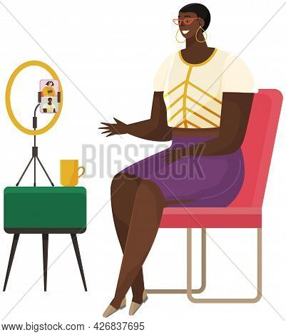 African American Girl Communicates With Friend Via Video Call. Video Communication, Online Talk. Peo