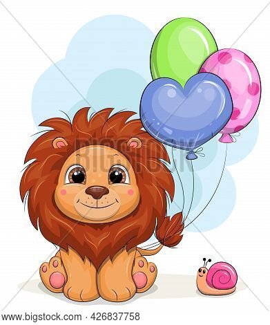 Cute Cartoon Lion With Snail And Balloons. Vector Illustration With An Animal.