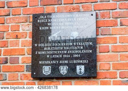 Lubin, Poland - June 1, 2021: Memorial Plaque To Cursed Soldiers.