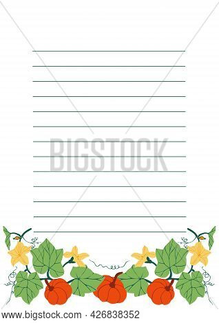 Template For Page Of Paper Notebook With Colorful Pumpkins, Flowers And Leaves Illustrations. Design