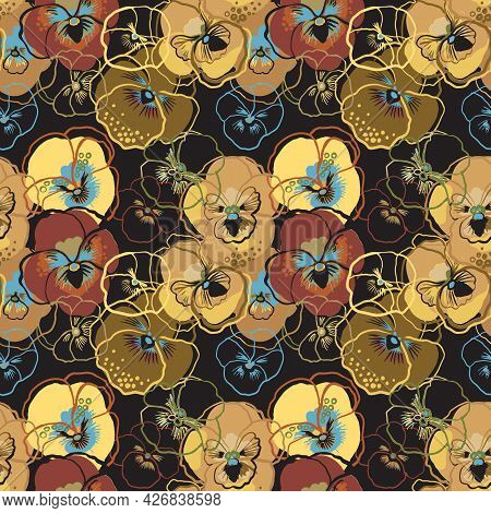 Vector Illustration Of Pansy Floral Seamless Pattern. Gold, Beige, Yellow, Purple Flowers On Dark Ba
