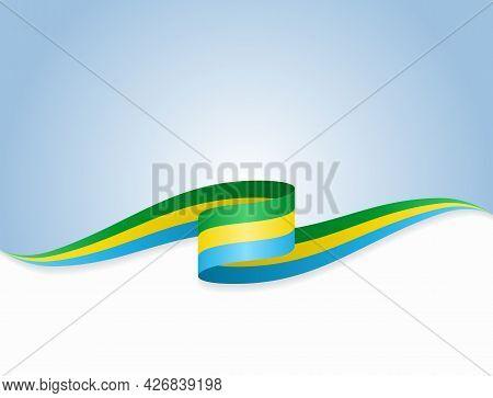 Gabon Flag Wavy Abstract Background. Vector Illustration.