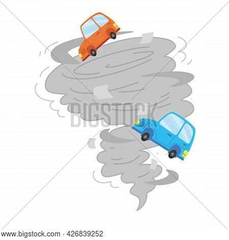 A Flat Icon Of A Hurricane That Lifted Cars And Vehicles Into The Air. Vector Twisted Tornado Symbol