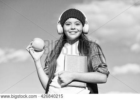 Vegetarian Choice. Happy Child Hold Apple On Sunny Blue Sky. Healthy Eating Habits. Fruit Snack. Veg