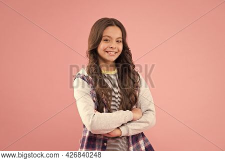 Confidence Looks Gorgeous On Her. Confident Kid Keep Arms Crossed Pink Background. Confident Look Of