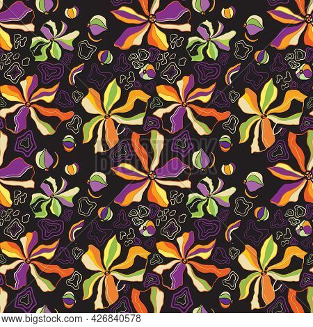 Marble Texture Seamless Pattern. Purple, Orange, Green, Burgundy Abstract Background. Seamless Liqui
