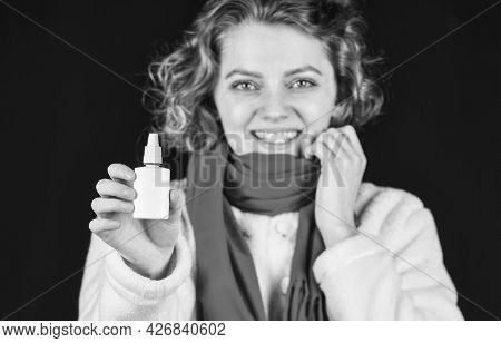 Sick Woman With Nasal Drops. Influenza Infection And Pneumonia. Coronavirus Outbreak Concept. Sympto