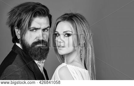 Couple In Love. Elegant Formal Couple. Businessman And Lady Embrace. Man And Woman