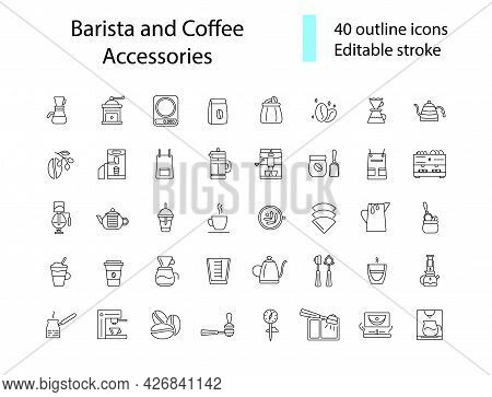 Barista And Coffee Accessories Outline Icons Set. Coffee And Barista Equipment. Espresso Making. Cus