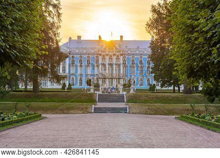 Catherine Palace And Park In Tsarskoe Selo (pushkin) At Sunset, Saint Petersburg, Russia