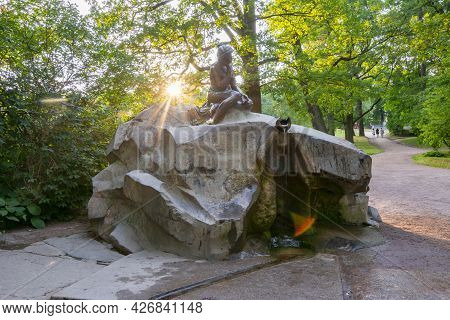 Statue Of Girl With Broken Jar In Catherine Park, Pushkin (tsarskoe Selo), Saint Petersburg, Russia