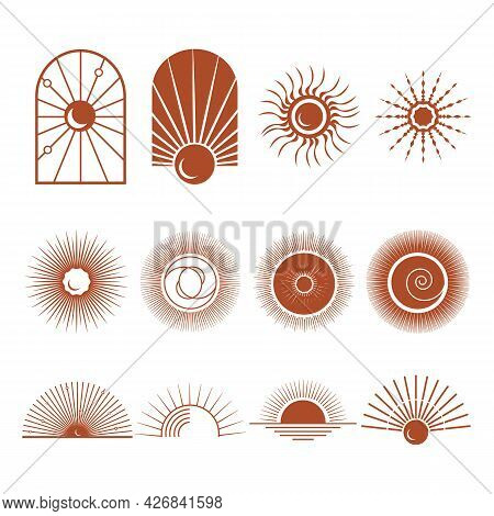 Bohemian Logo. Sun Logo Design Templates. Terracotta Geometric Abstract Design Elements. Sun, Moon,